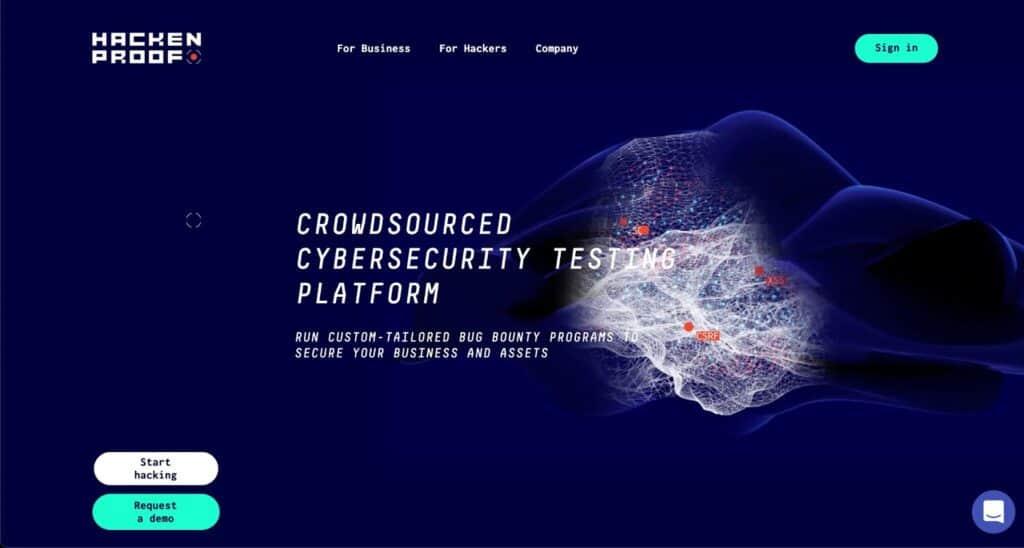 HackenProof's website, a crowdsourced cybersecurity testing platform