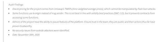 Excerpt from Solidity Finance's audit of DeFiPie