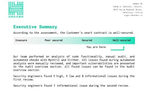 Excerpt from Hacken's audit of HarvesterDAO