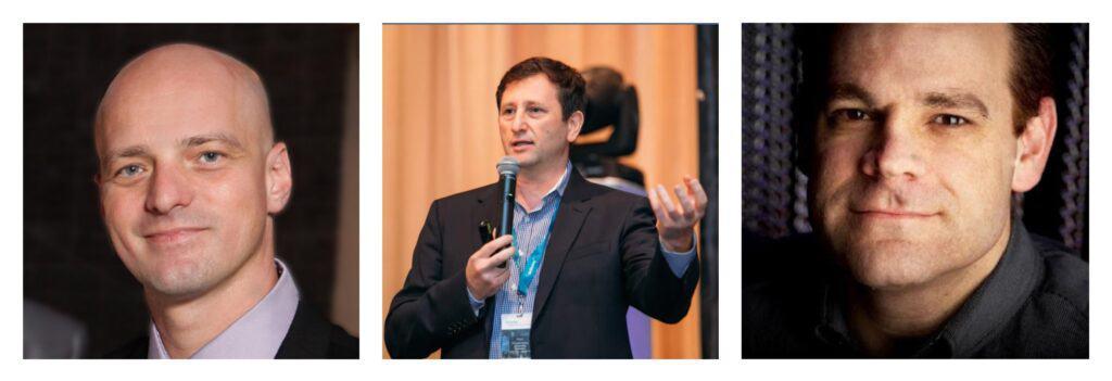 A photo collage that shows Alex Mashinsky, Nuke Goldstein, and S. Daniel Leone.